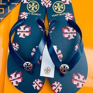 Tory Burch Flip Flop Thong Flat Sandal Blue Sandal